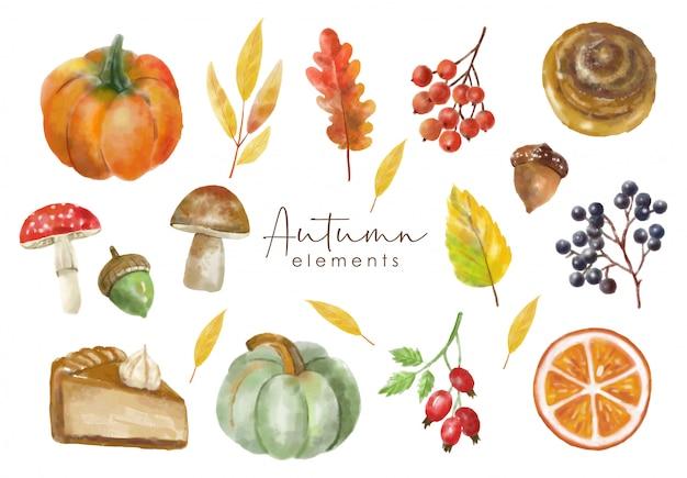 Akwarela zestaw elementów jesiennych, obiekt kolekcji lasu, kolorowe liście, jagody, orzechy, grzyb, bułka cynamonowa i dynia, efekt akwareli