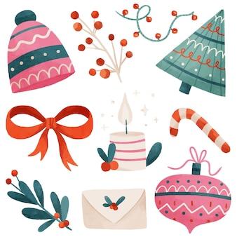 Akwarela zestaw elementów świątecznych