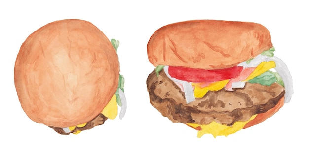 Akwarela zestaw hamburgerów