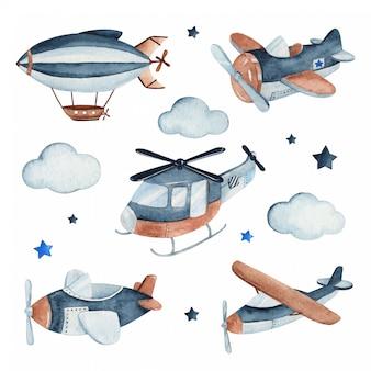 Akwarela zestaw ilustracji uroczego i uroczego statku powietrznego wraz z samolotami, helikopterem i zeppelinem.