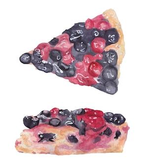 Akwarela zestaw jagodowy kawałek ciasta z jagodami i wiśniami