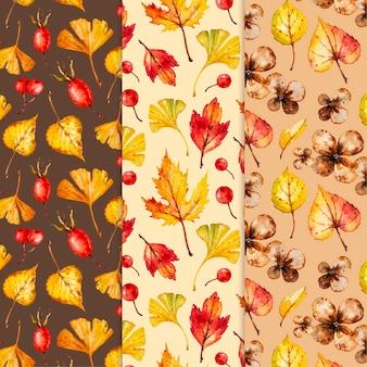 Akwarela zestaw jesień wzór