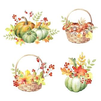Akwarela zestaw jesiennych kompozycji z dyniami, jesiennymi liśćmi, grzybami, jagodami
