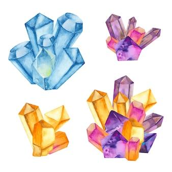 Akwarela zestaw kolorowych kryształów