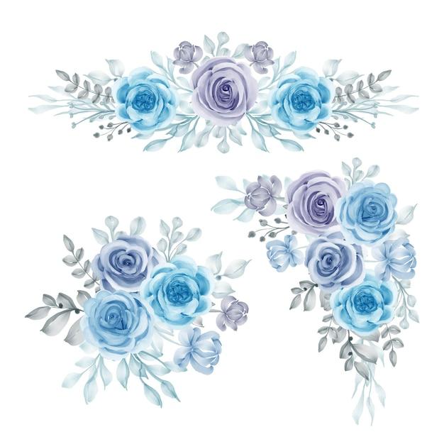 Akwarela zestaw kompozycji kwiatowych niebieski