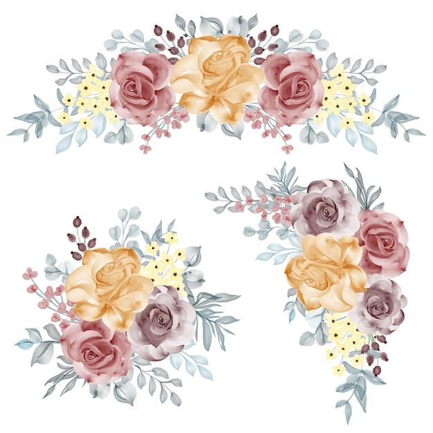 Akwarela zestaw kompozycji kwiatowych z różowo-pomarańczowym bordowym