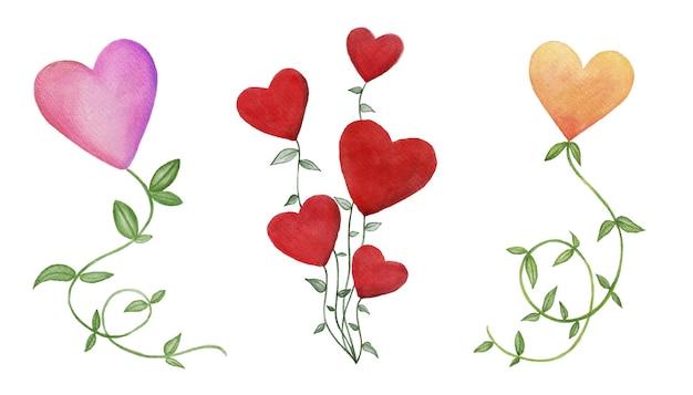 Akwarela zestaw kwiatów w kształcie serc z zielonymi liśćmi