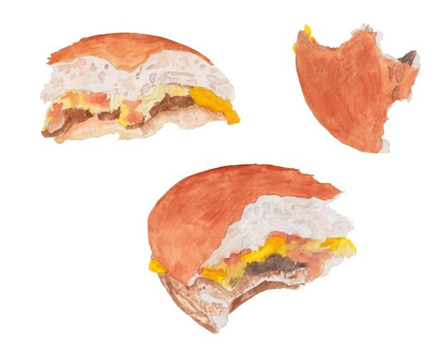 Akwarela zestaw nadgryzionych burgerów