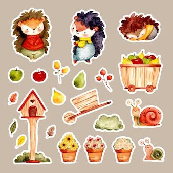 Akwarela zestaw naklejek z jeżem i elementami ogrodowymi