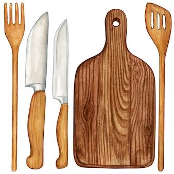 Akwarela zestaw narzędzi do gotowania drewniane naczynia