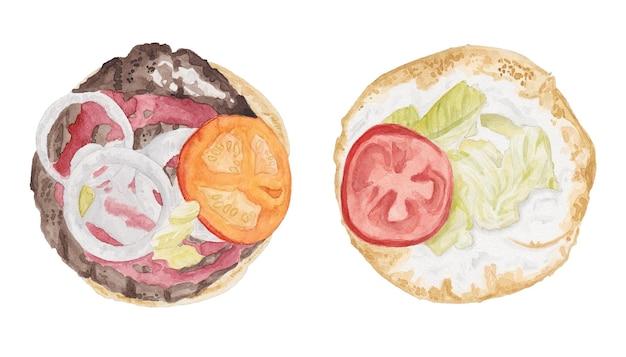 Akwarela zestaw podzielonych połówek burgera