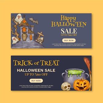 Akwarela zestaw poziomych banerów na halloween