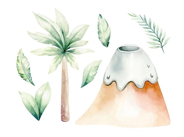 Akwarela zestaw prehistorycznych roślin. ilustracja palmy, góry, wulkan, liście.