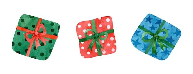 Akwarela zestaw prezentów świątecznych na białym tle