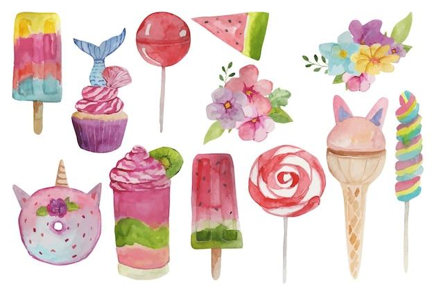 Akwarela zestaw słodyczy lollipops lody cukierki