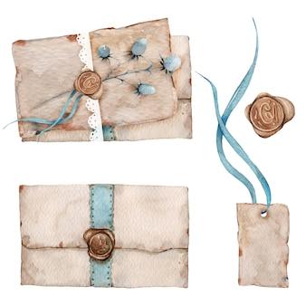 Akwarela zestaw starych zabytkowych listów i kopert