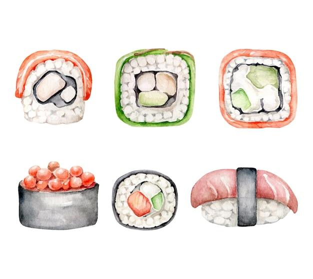 Akwarela zestaw sushi