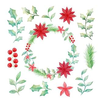 Akwarela zestaw świąteczny kwiat i wieniec