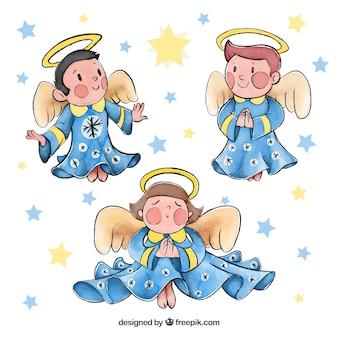Akwarela zestaw świątecznych aniołów