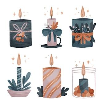 Akwarela zestaw świec bożonarodzeniowych
