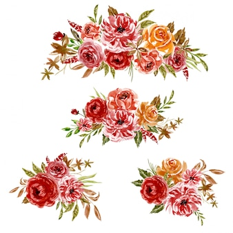 Akwarela zestaw układ kwiatowy czerwony pomarańczowy rama