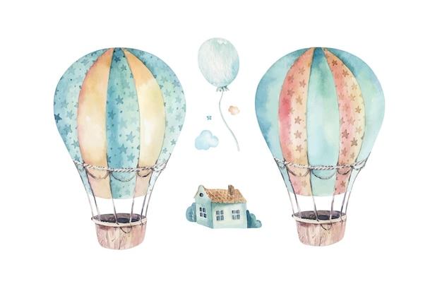 Akwarela zestaw uroczej i fantazyjnej sceny nieba wraz z balonami na gorące powietrze chmurami drzewami domami