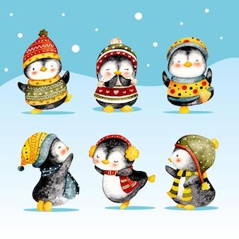 Akwarela zestaw uroczych pinguin