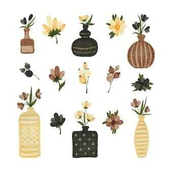 Akwarela zestaw wazonów z kwiatami
