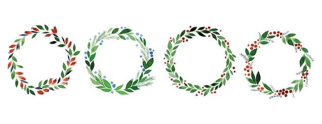 Akwarela zestaw wieńców świątecznych prostych liści i jagód