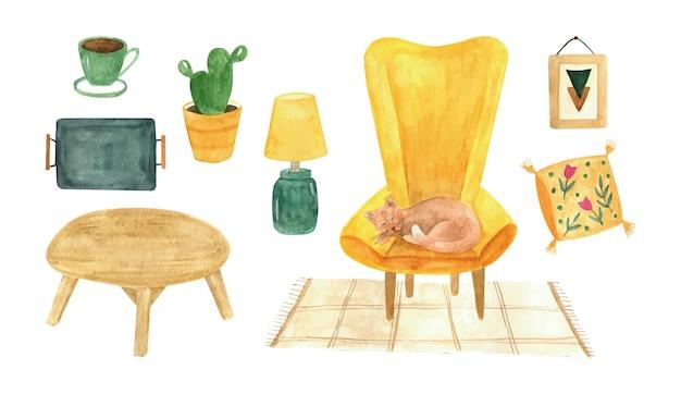 Akwarela zestaw wysokiej jakości hygge clipart o przytulnym małym domu hygge home decor