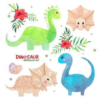 Akwarela zestaw z uroczymi zielonymi niebieskimi piaskowymi jajkami dinozaurów bąbelkami, liśćmi palmowymi i różowym kwiatem