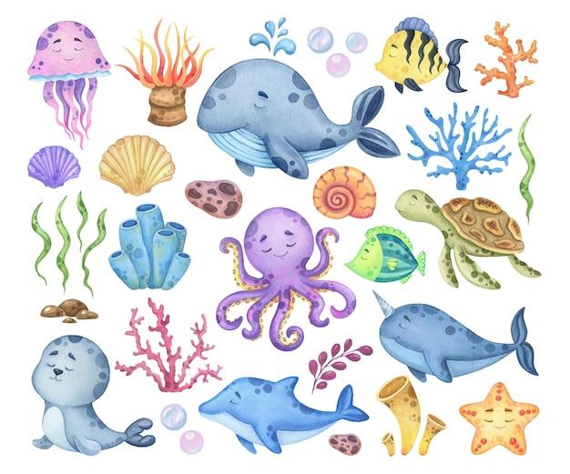 Akwarela zestaw zwierząt morskich i flory
