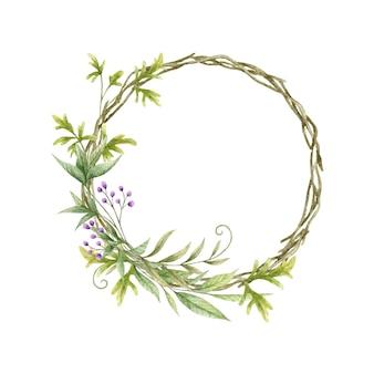 Akwarela zieleni liści ramki