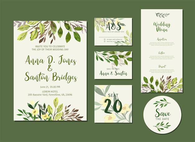 Akwarela zieleni ślubnej stacjonarny zestaw, zaproszenie i menu