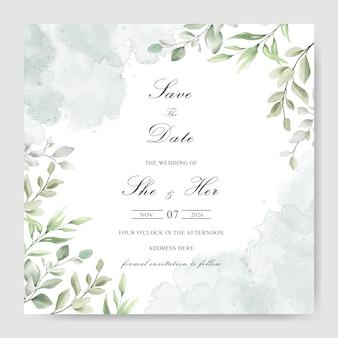 Akwarela zieleni wesele zaproszenie szablon karty