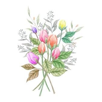 Akwarela zielone liście i kwiatowy bukiet wiosenny