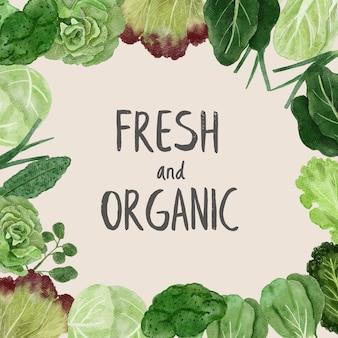 Akwarela zielone warzywa tło kwadrat