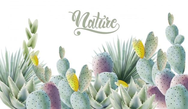 Akwarela zielony kaktus i liści palmowych tło