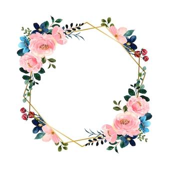 Akwarela zielony różowy kwiat z geometryczną złotą ramą