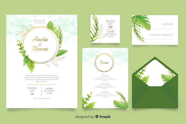 Akwarela zielony ślub szablon papeterii