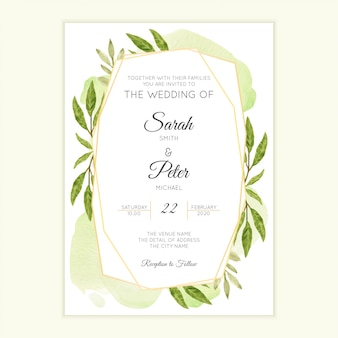 Akwarela zielonych liści szablon zaproszenia ślubne