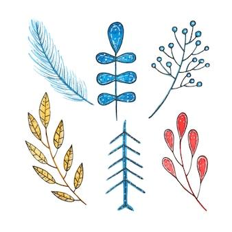 Akwarela zima boże narodzenie liść, świerk i jagody na białym tle