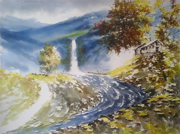 Akwarela zima natura ręcznie rysowane krajobraz