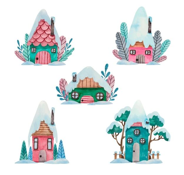Akwarela zimowa kolekcja domów bożonarodzeniowych