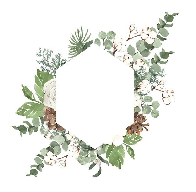 Akwarela zimowa ramka świąteczna z igłami sosnowymi i białymi kwiatami