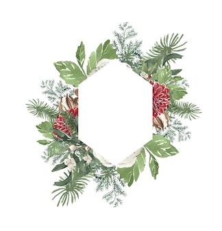 Akwarela zimowa ramka świąteczna z igłami sosnowymi i kwiatami