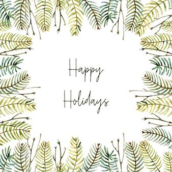 Akwarela zimowa ramka wykonana z gałęzi jodłowych na białym tle kartka świąteczna