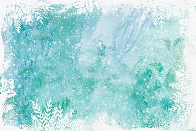 Akwarela zimowe tło mrożone szkło