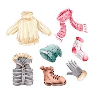 Akwarela zimowe ubrania i niezbędne artykuły