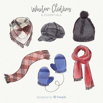 Akwarela zimowe ubrania i niezbędne rzeczy